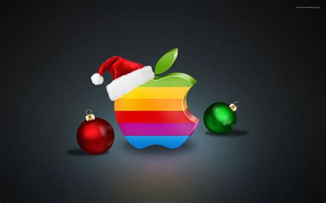 rainbow colors apple logo christmas balls  hat