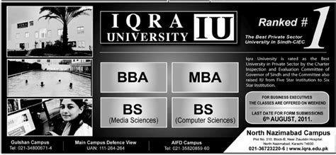 Mba Universities In Karachi by Bba Bs Mba Admissions Iqra Karachi