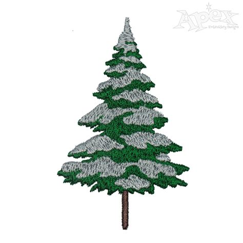 snowy christmas tree embroidery design