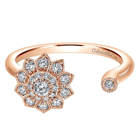 jewelers open ring gabriel co rings 14k pink gold flower open ring