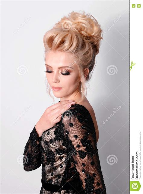 hairstyles for elegant dresses beautiful lady in elegant black evening dress with updo