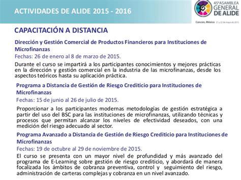 programa de trabajo para el curso 2015 2016 programa de trabajo de alide para el financiamiento de la