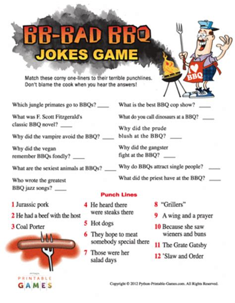 Bb Bad Bbq Jokes Printables