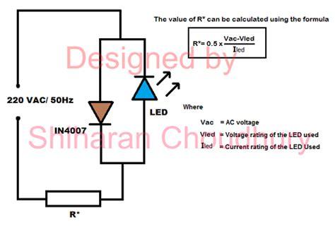 led resistor for 230v mains powered led led based circuits