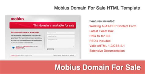 mobius domain for sale xhtml css by brentchesny themeforest