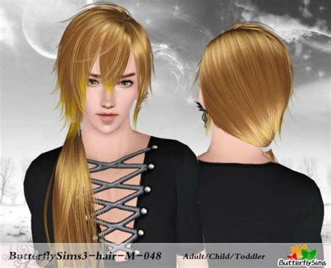 butterfly sims 3 male hair side spiky ponytail hair 48 by butterfly sims 3 hairs