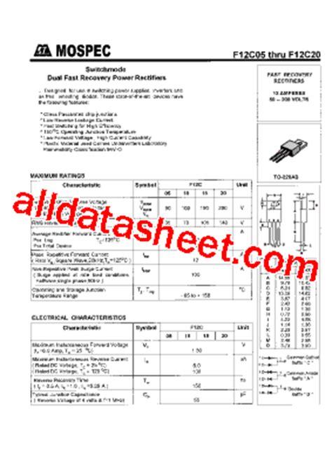 transistor mosfet f12c20c f12c20 datasheet pdf mospec semiconductor