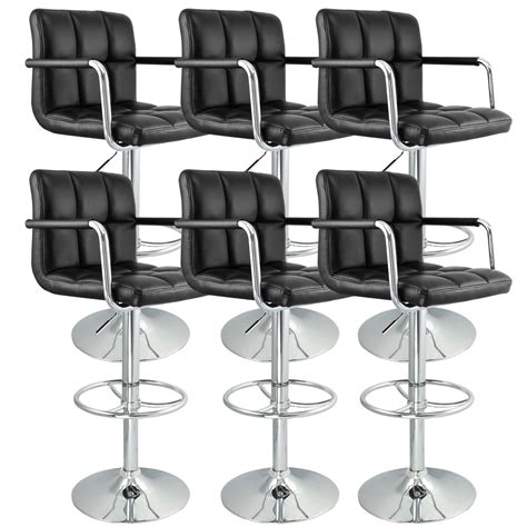 6 adjustable hydraulic barstool swivel bar stool white 6 black w arm swivel bar stool pu leather modern