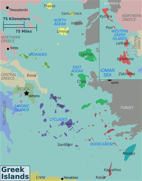 map of greece islands the isles map