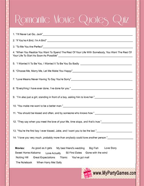 printable movie quotes quiz bridal shower romantic movie quotes quiz