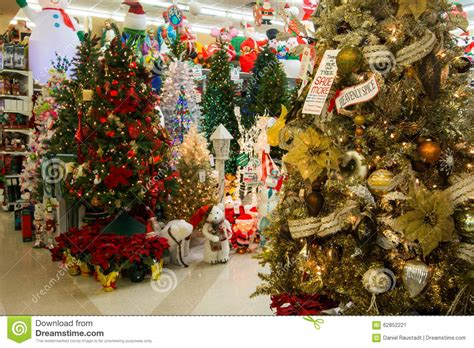 christmas holiday tree display at retail store editorial
