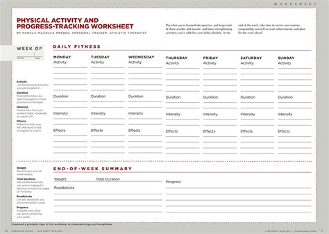 Physical Health Worksheets by Physical Activity Progress Tracking Worksheet A Free