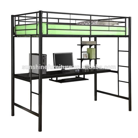 black loft bed kids bedroom furniture black metal twin loft bed with desk