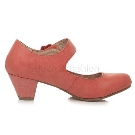 comfort mary janes womens ladies mid block heel padded comfort mary jane