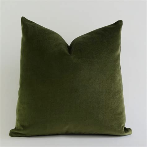 Olive Green Cotton Velvet Pillow Cover Decorative Accent Green Sofa Pillows