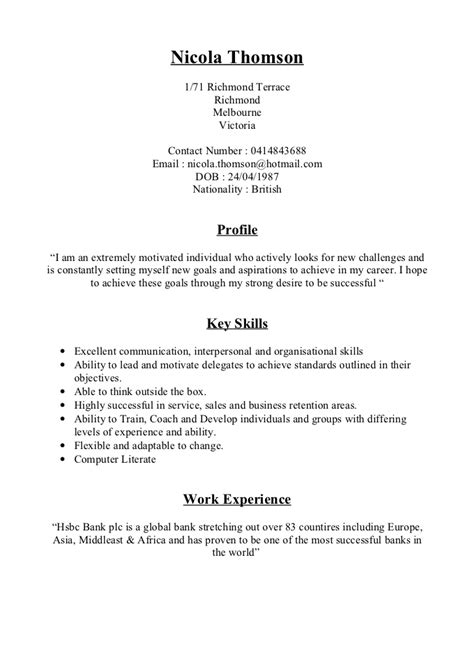 Best Example Of Resume Format by Nicola Thomson Cv