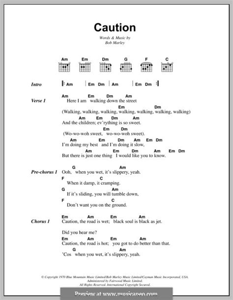 sit down don t rock the boat lyrics caution by b marley sheet music on musicaneo