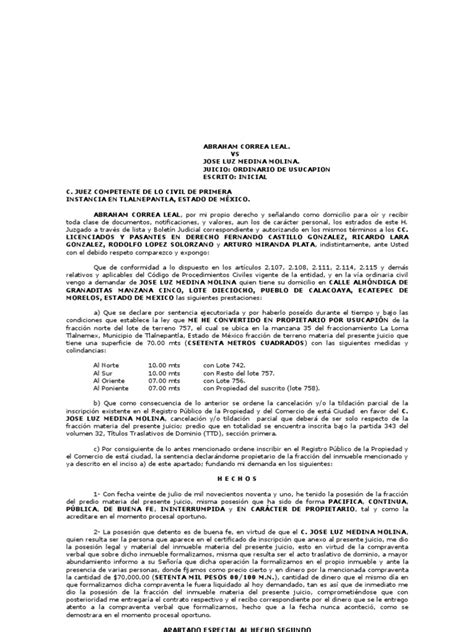 formato de jurisdiccion voluntaria para acreditar escrito inicial usucapion