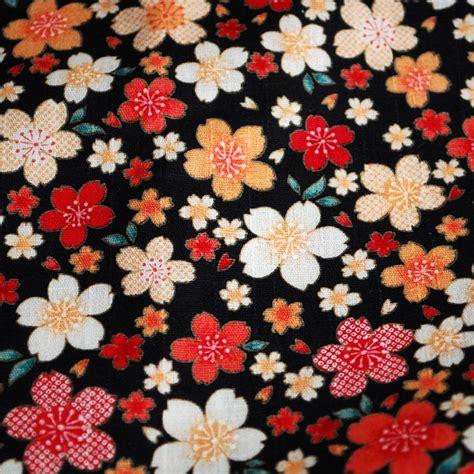 Cherry Hinata Flower Kimono japanese 100 cotton fabric kimono cherry flower black pink blue fq ebay