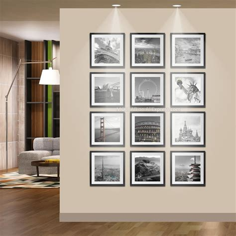 12 pcs reality wood picture photo frame wall set art work wooden square photo wall frames id 30cm 30cm picture