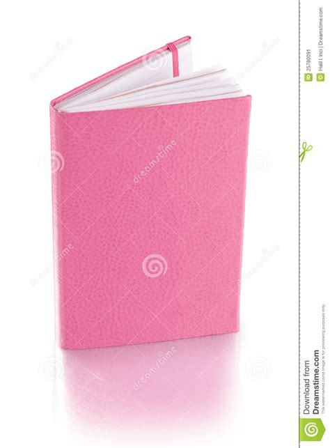 Dairy Pink pink leather diary book clipping path stock image