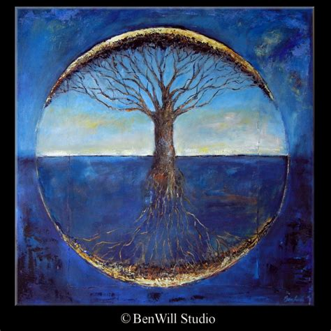 tree original abstract tree painting original blue tree of