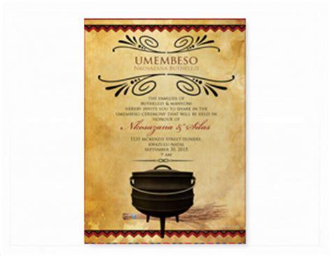 printable umembeso invitations south african traditional wedding invitation cards
