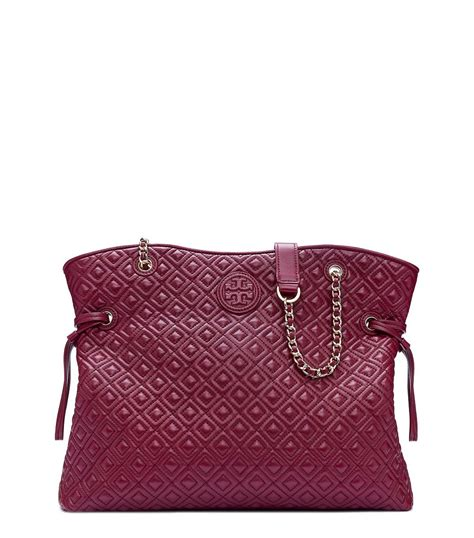 Burch Marion Quilted Chain Slouchy Berry burch marion quilted slouchy tote in lyst