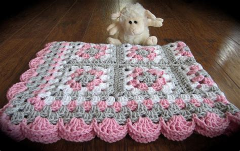 Baby Square Blanket by Pink Gray Baby Square Blanket Crochet Pink And Gray