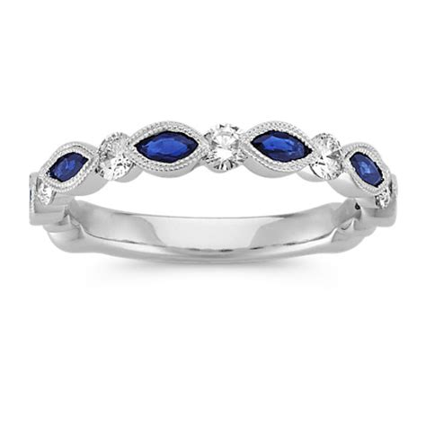 Wedding Bands With Sapphires And Diamonds by Marquise Sapphire And Wedding Band Shane Co
