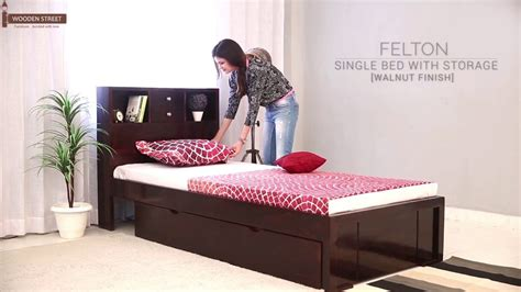 buy a bed online single beds buy felton single bed with storage walnut