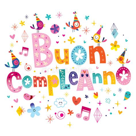 clipart compleanno buon compleanno happy birthday in italian stock vector