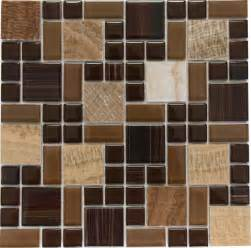 dark brown marble mosaic tile mixed w crystal glass ebay