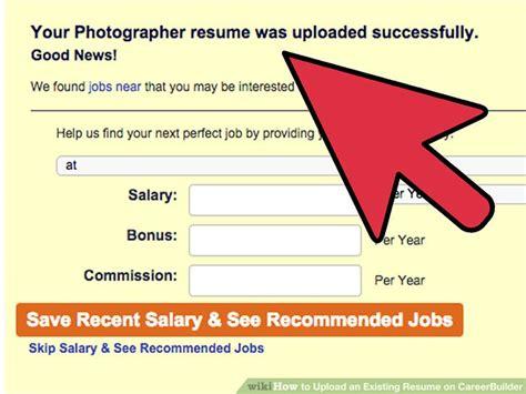 upload  existing resume  careerbuilder  steps
