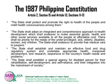 section 13 philippine constitution universal healthcare in the context of the right to health