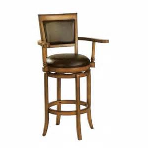 Cushioned Bar Stools With Arms Medium Brown Finish Wood Swivel Bar Stools With Black