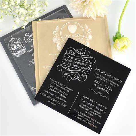 Unique Custom Wedding Invitations by C6 Engraved Acrylic Wedding Invitations Engraved Wedding
