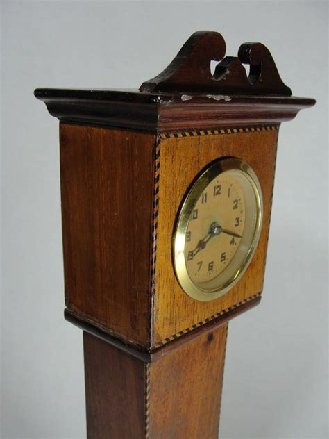 Handmade Grandfather Clock - antique handmade folk miniature mahogany