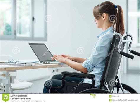 computer desk for disabled young disabled businesswoman at work stock image image