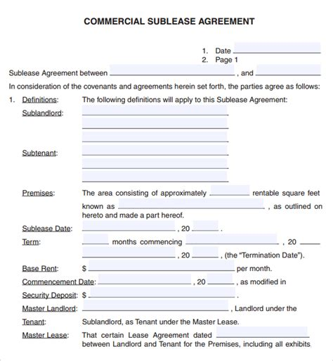commercial property rental agreement template 6 free commercial lease agreement templates excel pdf