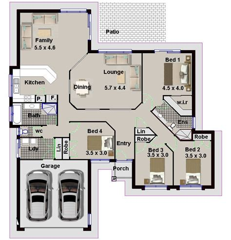 166 Single Level 4 Bedroom 2 Living Areas Double Garage 4 Bedroom House Plans With Garage