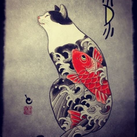 japanese cat tattoo cat horitomo proyectoyakuza