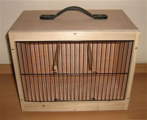 wood scow wood bird carry transport display show cage 35cm x 21cm