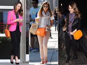 Wearing a summer handbag during fall it s possible and jessica alba