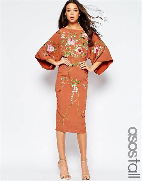 Dress Anak Simple Dress Kimono lyst asos kimono midi dress with embroidery in