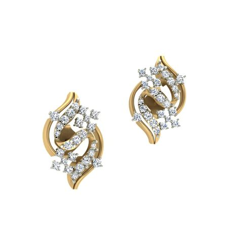 Gold Earrings Online: Buy Serenity Tops Diamond Earring of article Earring for Women from