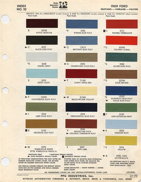auto paint codes 1969 ford mustang color chart with paint mixing codes auto paint colors
