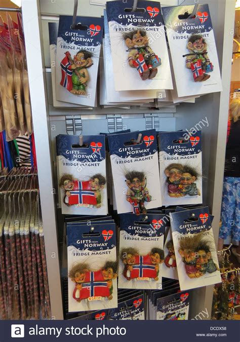 Magnet Norwegia Souvenirs troll souvenirs in a shop in tromsoe photo tony