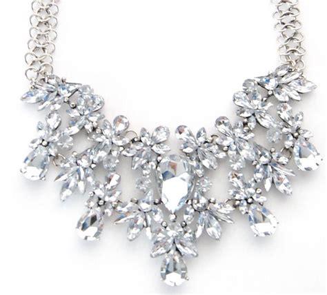 Rhinestone Necklace silver clear rhinestone chunky bib choker