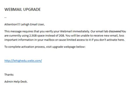 fake email sign in alert library technology services recent phishing exles quota library technology services